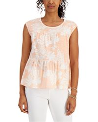 Style & Co. Cotton Tiered Tank Top, Created For Macy's - Multicolour