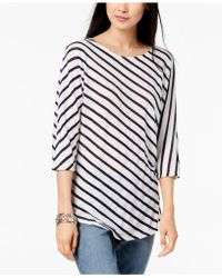 INC International Concepts - I.n.c. Striped 3/4-sleeve Top, Created For Macy's - Lyst