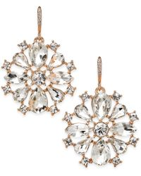 Charter Club - Silver-tone Clear & Pink Crystal Drop Earrings - Lyst