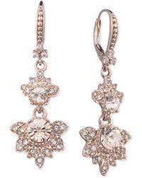 Marchesa - Rose Gold-tone Crystal Double Drop Earrings - Lyst