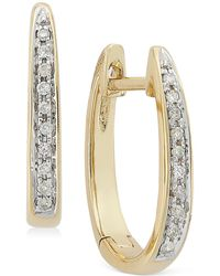 Macy's | Channel-set Diamond Hoop Earrings In 14k Gold (1/10 Ct. T.w.) | Lyst