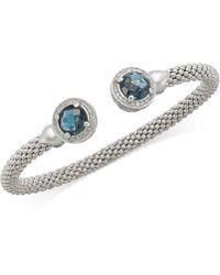 Macy's - Blue Topaz (5 Ct. T.w.) And Diamond (1/3 Ct. T.w.) Popcorn Mesh Bangle Bracelet In Sterling Silver - Lyst