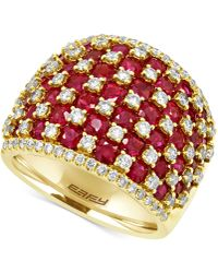 Effy Collection Ruby (4-1/2 Ct. T.w.) And Diamond (1-1/4 Ct. T.w.) Ring In 14k Gold - Red