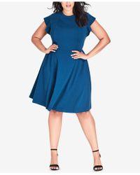 City Chic - Trendy Plus Size Ruffled-shoulder A-line Dress - Lyst