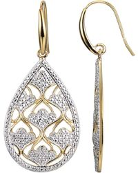 Macy's - Caged Design Tear Drop Earring In 18k Gold Over Sterling Silver - Lyst