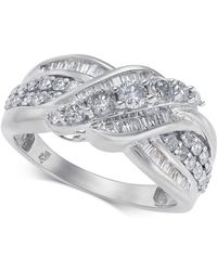 Macy's - Diamond Overlap Cluster Ring (1 Ct. T.w) In 14k White Gold - Lyst