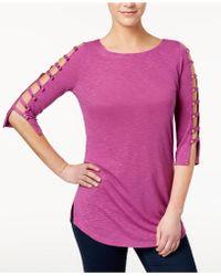 Love Scarlett Petite Ladder-sleeve T-shirt - Purple