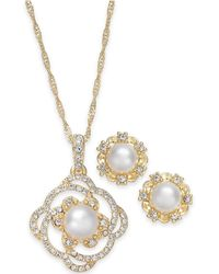 Charter Club - Gold-tone Pavé & Imitation Pearl Pendant Necklace And Stud Earrings Set - Lyst