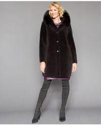 The Fur Vault Shearling Lamb Fox-fur-trim Hooded Coat - Brown