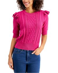Charter Club Ruffle-trim Cable-knit Top, Created For Macy's - Pink
