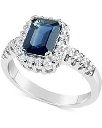 Macy's - Sapphire (1-3/4 Ct. T.w.) And Diamond (1/3 Ct. T.w.) Ring In 14k White Gold - Lyst