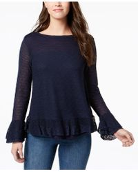 Style & Co. - Ruffle-trim Knit Sweater, Created For Macy's - Lyst