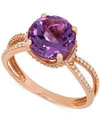 Macy's - Amethyst (2-1/2 Ct. T.w.) And Diamond (1/6 Ct. T.w.) Split Shank Ring In 14k Rose Gold - Lyst