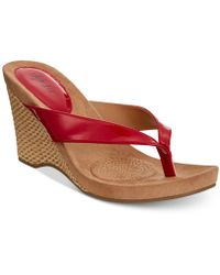 Style & Co.   Chicklet Wedge Thong Sandals, Created For Macy's   Lyst