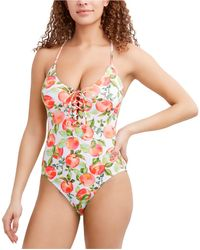 BCBGeneration Just Peachy Lace Up One-piece Swimsuit - Multicolor