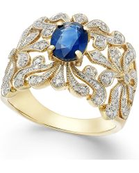 Effy Collection | Sapphire (1-3/8 Ct. T.w.) And Diamond (1/3 Ct. T.w.) Antique Ring In 14k Gold | Lyst