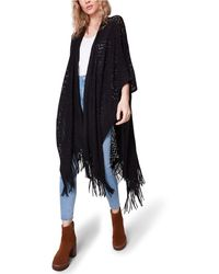 Steve Madden Knit Fringed Ruana - Black