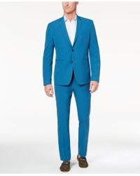 Perry Ellis - Slim-fit Stretch Turquoise Solid Tech Suit - Lyst