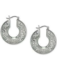 Giani Bernini - Cubic Zirconia Engraved Hoop Earrings In Sterling Silver - Lyst