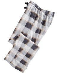 Perry Ellis Medium-plaid Fleece Pants - Gray