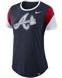 Nike - Atlanta Braves Tri-blend Crew T-shirt - Lyst