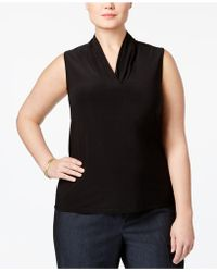 Anne Klein - Plus Size Pleated Shell - Lyst