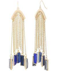Catherine Malandrino - Multicolored Clustered Rhinestone Yellow Gold-tone Rolo Chain Tassel Earrings - Lyst