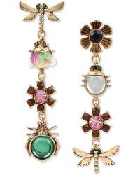 Betsey Johnson Gold-tone Bug & Flower Stone & Crystal Mismatch Drop Earrings - Metallic