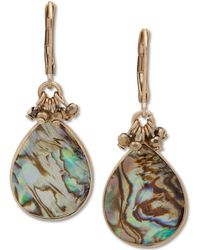 Lonna & Lilly - Gold-tone Abalone Stone Drop Earrings - Lyst