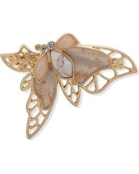 Lonna & Lilly Gold-tone Multi-stone Filigree Butterfly Hair Barrette - White