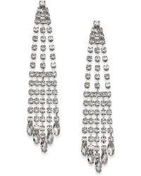 Nina Silver-tone Crystal Chandelier Earrings - Metallic