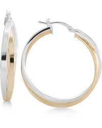 Macy's - Two-tone Overlapped Hoop Earrings In Sterling Silver And 14k Gold-plate - Lyst