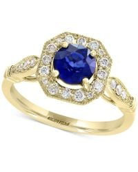 Effy Collection - Diffused Ceylon Sapphire (1 Ct. T.w.) & Diamond (1/4 Ct. T.w.) Ring In 14k Gold - Lyst