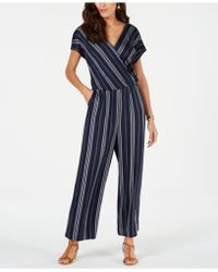 Style & Co. Petite Printed Blouson Jumpsuit, Created For Macy's - Blue