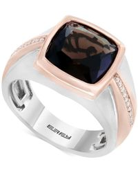 Effy Collection - Men's Smoky Quartz (4 Ct. T.w.) & Diamond (1/10 Ct. T.w.) Two-tone Ring In Sterling Silver & Rose Rhodium-plate - Lyst