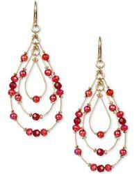 Style & Co. Multi-bead Triple-teardrop Drop Earrings, Created For Macy's - Red