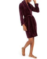 Sesoire French Fleece Short Wrap Robe - Red