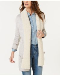 Style & Co. - Petite Fleece-contrast Shawl Cardigan, Created For Macy's - Lyst