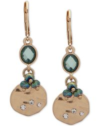 Lonna & Lilly - Gold-tone Pavé, Stone & Bead Double Drop Earrings - Lyst