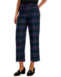 Charter Club Petite Plaid Wide-leg Crop Pants, Created For Macy's - Blue