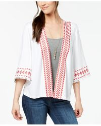 Style & Co. - Petite Embroidered Fringed Kimono Jacket, Created For Macy's - Lyst