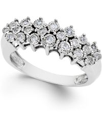 Macy's | Diamond Pyramid Ring (1/5 Ct. T.w.) In Sterling Silver | Lyst