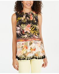 Style & Co. Floral-print Tassel-trim Top, Created For Macy's - Multicolor