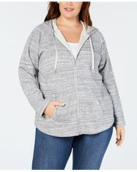 Style & Co. Plus Size Space-dyed Hoodie, Created For Macy's - Gray