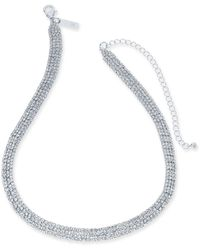 "INC International Concepts Inc Rhinestone Mesh Statement Necklace, 15"" + 4"" Extender, Created For Macy's - Metallic"