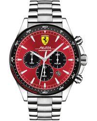 Ferrari Chronograph Pilota Stainless Steel Bracelet Watch 45mm - Metallic