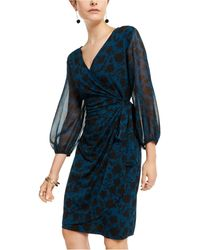 INC International Concepts Inc Floral Wrap Dress, Created For Macy's - Blue