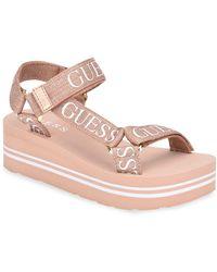Guess Avin Strappy Platform Sandals - Pink
