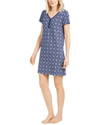 Charter Club Cotton Printed Sleepshirt Nightgown, Created For Macy's - Blue