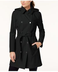 Calvin Klein Petite Double Breasted Belted Trench Coat, Created For Macy's - Black